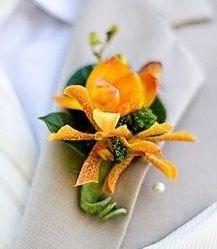 yellow peach wedding flower boutonniere, groom boutonniere, groom flowers, add pic source on comment and we will update it. www.myfloweraffair.com can create this beautiful wedding flower look.
