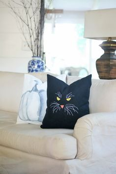 Are you looking to bring a little halloween decor to your home with a fun and easy project? Make an easy embroidered black cat pillow.