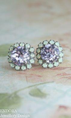 Mint and purple Swarovski crystal halo stud earrings | mint and lavender www.endorajewellery.etsy.com