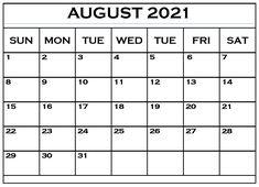August Month Calendar, 2021 Calendar, Monthly Planner Template, Monthly Calendar Template, Calendar Printable, Print Calendar, Letter Size Paper, Words, Free Printable