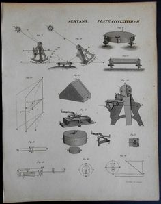1820 Sextant Engraving. Original Antique Navigational instrument print.