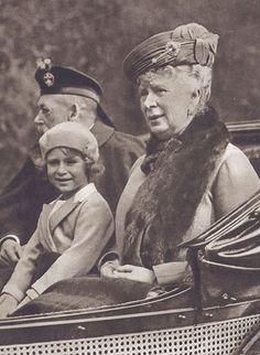 Princess Elizabeth (now Queen Elizabeth II) with her grandparents