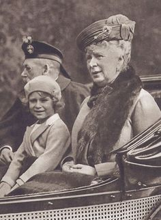 HRH Princess Elizabeth of York (now Queen Elizabeth II) with her grandparents HM King George V and HM Queen Mary