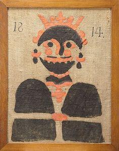 WOLF SCARE, Swedish, folk art, dated 1814 -- VARGLAPP, märkt 1814, linneduk bemålad med figur i rött och svart, senare uppfodrad på pannå och ramad, dagermått 71,5 x 55 cm