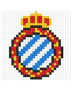Escudo de F.CD ESPAÑOL Hama Beads Patterns, Beading Patterns, Cross Stitch Art, Online Gratis, Perler Beads, Pixel Art, Doodles, Canvas, Drawings