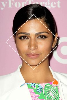 The diamond face shape has wide cheekbones, tapering into an equally narrow forehead and jaw.