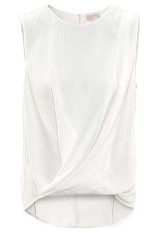 White Ruffle Irregular Round Neck Sleeveless Chiffon Blouse