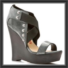 """♣️ True Religion Humphrey wedge shoes 7.5 sandals This is a pair of true religion Humphrey wedge sandals. Grey leather with silver studs. Size 7.5"""".  Leather Rubber sole Heel measures approximately 4.75"""" Platform measures approximately 1.25"""" Leather Upper Man Made Sole Heel Height: 4 - 4.75 Inch This shoe fits true to size. Never been worn.   All items are from a clean, smoke free home  We ❤️ offers but will only be considered by using the """"OFFER"""" option  Trades  Modeling True Religion Shoes…"""