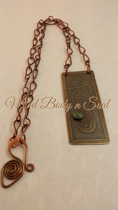 Etched Sea Horse on brass - Aventurine set in silver& oxidized - hand made copper chain & clasp  www.etsy.com/shop/mindbodynsoul