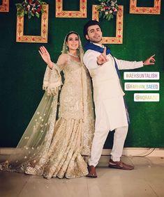 Image may contain: 2 people, people standing and wedding Bridal Mehndi Dresses, Walima Dress, Bridal Dress Design, Pakistani Party Wear, Pakistani Wedding Outfits, Pakistani Dresses, Pakistani Actress, Pakistani Dramas, Pakistani Culture