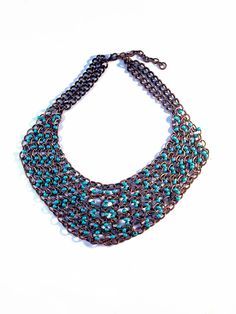 Turquoise Beaded Chunky Chains Choker  Boho by ShamelessStatements