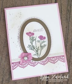 Delicate details lace stamps Stampin Up floral oval Wild About Flowers framelits mothers day