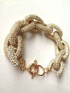 J Crew Inspired Classic Gold Pave Link Bracelet
