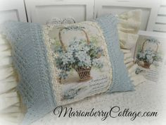 Mothers Day KEEPSAKE pillow Basket of Forget me Nots