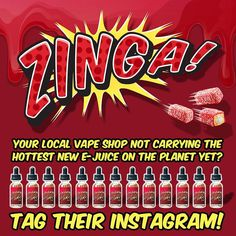 Tag your local vape shop that you want to carry ZINGA!  Sweet yellow snack cake filled with fluffy cream covered in raspberry jelly with coconut sprinkles!  30ml bottles available in 0mg/3mg/6mg/12mg.  ISO-7 Clean room lab made - #moleculemade!  More info: www.zingaejuice.com.  Buy online: www.ejuices.com.  Inquiries: info@zingaejuice.com by vapeporn