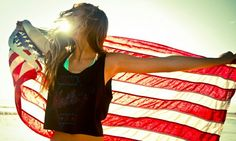 I look at this picture and think of just feeling free and the American Flag is a statement of independence and freedom to me. All American Girl, American Pride, American Flag, American Apparel, Summer Of Love, Summer Time, Summer Fun, Summer Things, Pink Summer