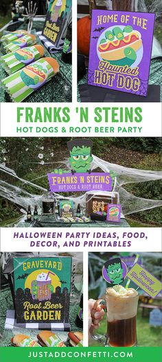 Welcome toFranks 'n Steins...home of the HauntedHot Dog and a Graveyard Root Beer Garden that's to die for! This Frankenstein Halloween party is so much fun! Full of easy Halloween party ideas, decor, food and printables that you can recreate in no time. Don't miss our famous haunted mummy hot dog too!