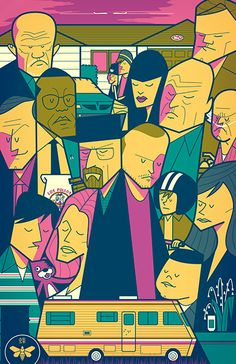 Breaking Bad by Ale Giorgini in Vicenza, ItalyNew color variant. Dean Norris, Jonathan Banks, Aaron Paul, Bryan Cranston, Italy News, Breaking Bad, Ale, Vicenza Italy, Heisenberg