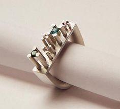 """ring """"Manhattan"""" silver, tourmalines / Sabine Hauss"""