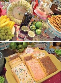Breakfast bar at sleepover party. How many people would absolutely LOVE your house after?  -cute idea for a girls sleepover, orange juice in champagne glasses, poptarts, mini muffins, fruit with yogurt dip or parfaits