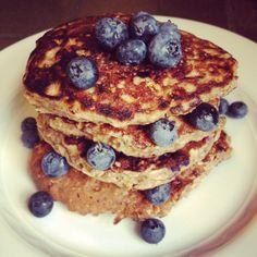 Blueberry Oat Protein Pancakes - The Lemon Bowl
