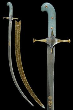 Buy online, view images and see past prices for A beautiful jade-hilted shamshir with rubies. Invaluable is the world& largest marketplace for art, antiques, and collectibles. Swords And Daggers, Knives And Swords, Sultan Ottoman, Sword Reference, Indian Sword, Steel Art, Prop Design, Medieval Armor, My Favorite Image