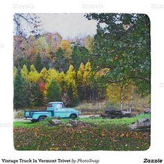 Vintage Truck In Vermont Trivet