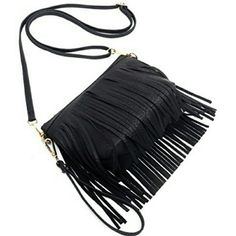 "Fringe Wristlet Cross body Bag Leather like material. Gold-tone hardware. Zip top closure. Adjustable shoulder strap (24~48""). Detachable Wrist band. Interior lining with a back wall zip pocket. Measure 8.5"" length, 3"" width, 6"" height. Any questions let me know. Hit me an offer  XNO TRADESX  Follow me on IG: @lilian.barillas Be a trendsetter lilianbarillas Bags Crossbody Bags"