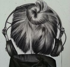 Girly M, Hair Drawings, Heart Songs, Theme Background, Illustration Art, Illustrations, Charcoal Drawing, How To Draw Hair, Solitude