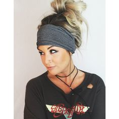 Soot Scrunch Headband Extra Wide Headband Jersey Headband Extra Wide... ($25) ❤ liked on Polyvore featuring accessories, hair accessories, grey, headbands & turbans, turban headband, stretchy headbands, wide stretch headbands, boho chic headbands and boho hair accessories