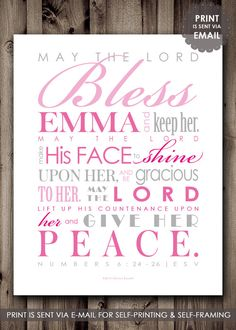 DIY Beautiful Baptism Gift for a little girl. Digital File  Featuring the Priestly Blessing from Numbers 6:24-26  Pinks and Grays or pick your