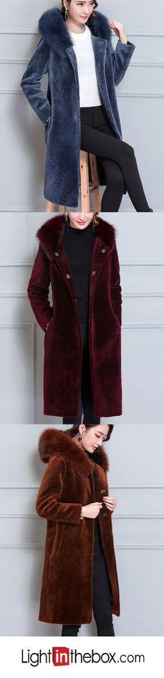 Women's Party Plus Size Work Vintage Street chic Sophisticated Winter Fur Coat