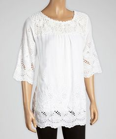 Another great find on #zulily! White Crochet Embroidered Top #zulilyfinds
