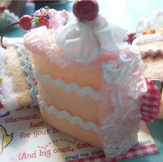 Pink coconut cake slice barrette by goldilocksbarrettes on Etsy, $8.50