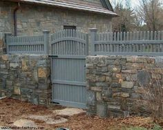 Image result for stone pillar wood fence