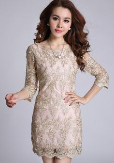Golden Floral Half Sleeve Wrap Lace Vintage Dress