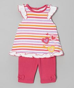 Love this Pink Stripe Heart Tunic & Pants - Infant by Weeplay Kids on #zulily! #zulilyfinds