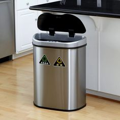 Nine Stars DZT-70-11 Touchless Stainless Steel 18.5 Gallon Home Recycling Trash Can