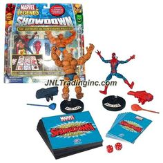 ToyBiz Year 2005 Marvel Legends Showdown Series 2 Pack 4 Inch Tall Action Figure Starter Set : SPIDER-MAN vs. THING with 2 Bases, 6 Power Cards, 12 Battle Tiles, 2 Projectile Launchers with 2 Projectiles, 2 Dices and Rulebook