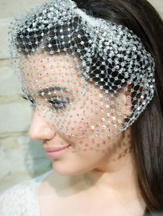 Birdcage Veil Covered w/ Rhinestones Russian by ParisienneLuxe