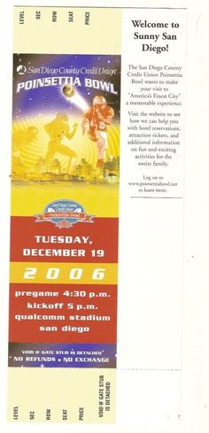 2006 Poinsettia Bowl Full Ticket TCU Northern Illinois....if you like this you can find many more college bowl game tickets for sale at.....www.everythingcollectibles.biz