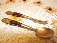 Vintage Small Ornate Brass and Wood Serving Fork and Spoon Set, SIAM Thailand, Sugar/Jam Spoon and Pickle Fork by OutrageousVintagious on Etsy