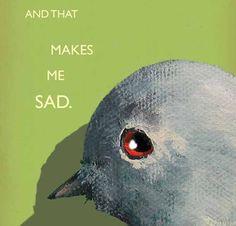 Sad  bird NOTE CARD от MincingMockingbird на Etsy