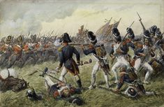 Third Regiment of Foot Guards (now Scots Guards) repulsing the attack of the Old Guard at the Battle of Waterloo on June picture by Richard Simkin Waterloo 1815, Battle Of Waterloo, British Soldier, British Army, Military Diorama, Military Art, Seven Years' War, Napoleonic Wars, American Civil War