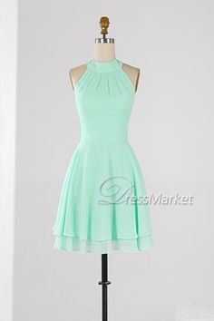 Mint green high coller homecoming dress,Knee length sleevesless wedding party dress,Simple chiffon bridesmaid dress,short summer dress
