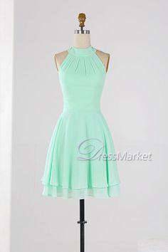 Mint green high coller homecoming dress,Knee length sleevesless wedding party dress,Simple chiffon bridesmaid dress,short summer dress