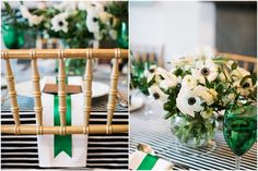 Ranunculus/Anemone Centerpieces AND Green Goblets?!?! Major swoonage happening over here! :D #beinspired