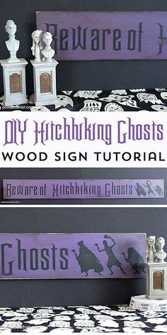 "to Make a Hitchhiking Ghosts Haunted Mansion Sign How to make your own Wood Halloween Sign; A cute ""Beware of Hitchhiking Ghosts""…How to make your own Wood Halloween Sign; A cute ""Beware of Hitchhiking Ghosts""… Haunted Mansion Decor, Haunted Mansion Halloween, Haunted Houses, Disney Haunted Mansions, Holidays Halloween, Fall Halloween, Halloween Prop, Halloween Witches, Wooden Halloween Signs"