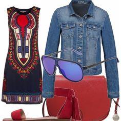Il blu e il rosso sono da sempre il mio accostamento di colore preferito.... outfit estivo arricchito da una giacca di jeans che, soprattutto di sera, non è mai sconsigliato portare dietro...