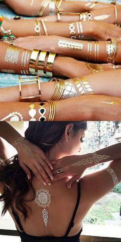 Gold Tattoo Flash Metallic Taty Tatouage Temporary Sticker Random 3PCS